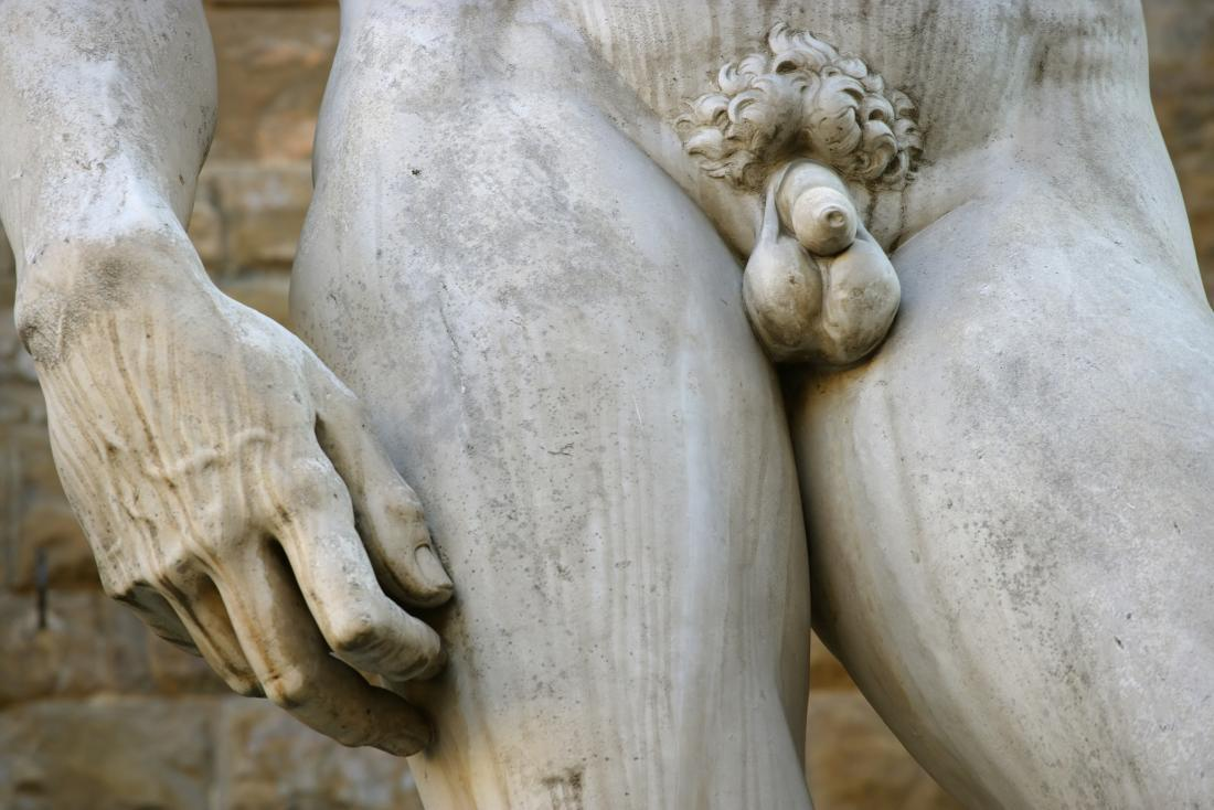 Statue of David with close up on the penis